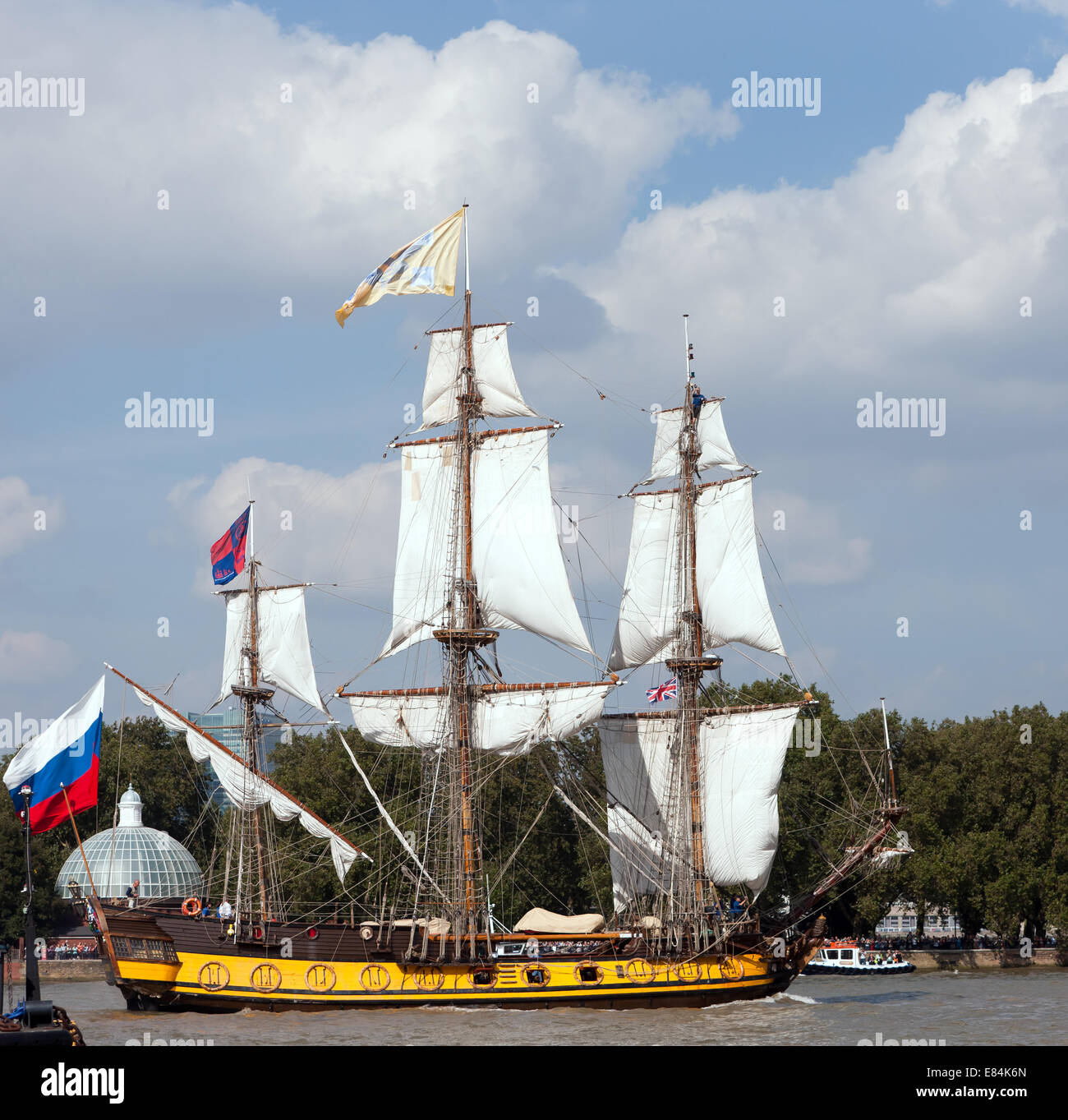 The Shtandart,a replica of a 1703 Russian navy flagship, taking part in the parade of Sale, during the Tall Ships - Stock Image