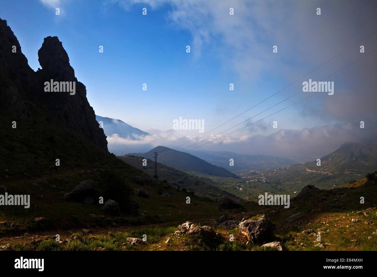 El Boquete de Zafarraya, a mountain pass over the Sierra de Tejeda, Malaga Province, Andalucia, Spain - Stock Image