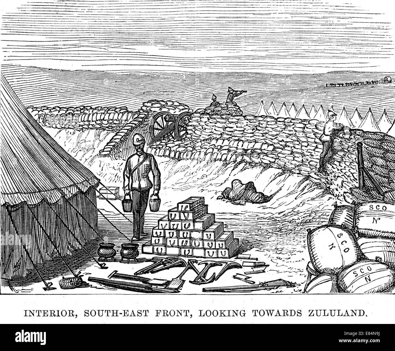 ZULU WAR 1879 Main supply depot for the Number Three Column at Helpmakaar showing use of mealie bags to support - Stock Image
