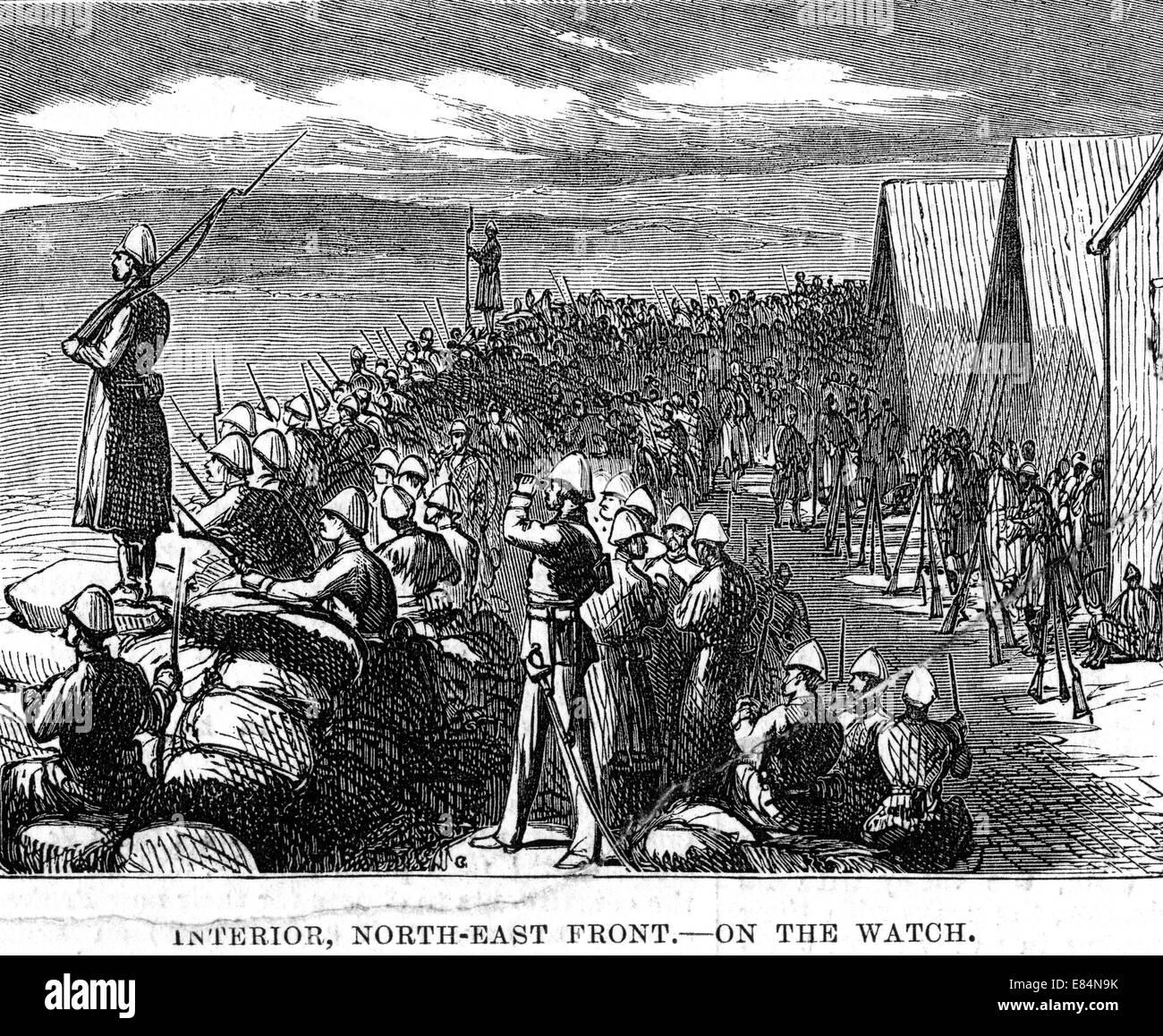 ZULU WAR 1879 Helpmakaar camp on the alert - Stock Image