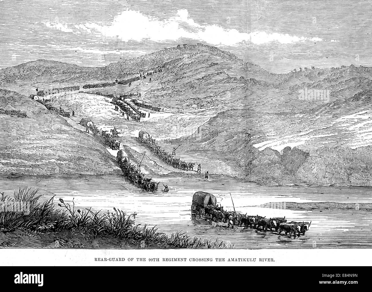 ZULU WAR 1879 Rear-guard of the 99th Regiment cross the Amatikulu River as shown in th Illustrated London News on - Stock Image