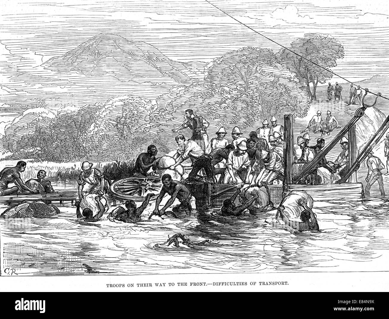 ZULU WAR 1879 British troops making a river crossing from the Illustrated London News 12 April 1879 - Stock Image