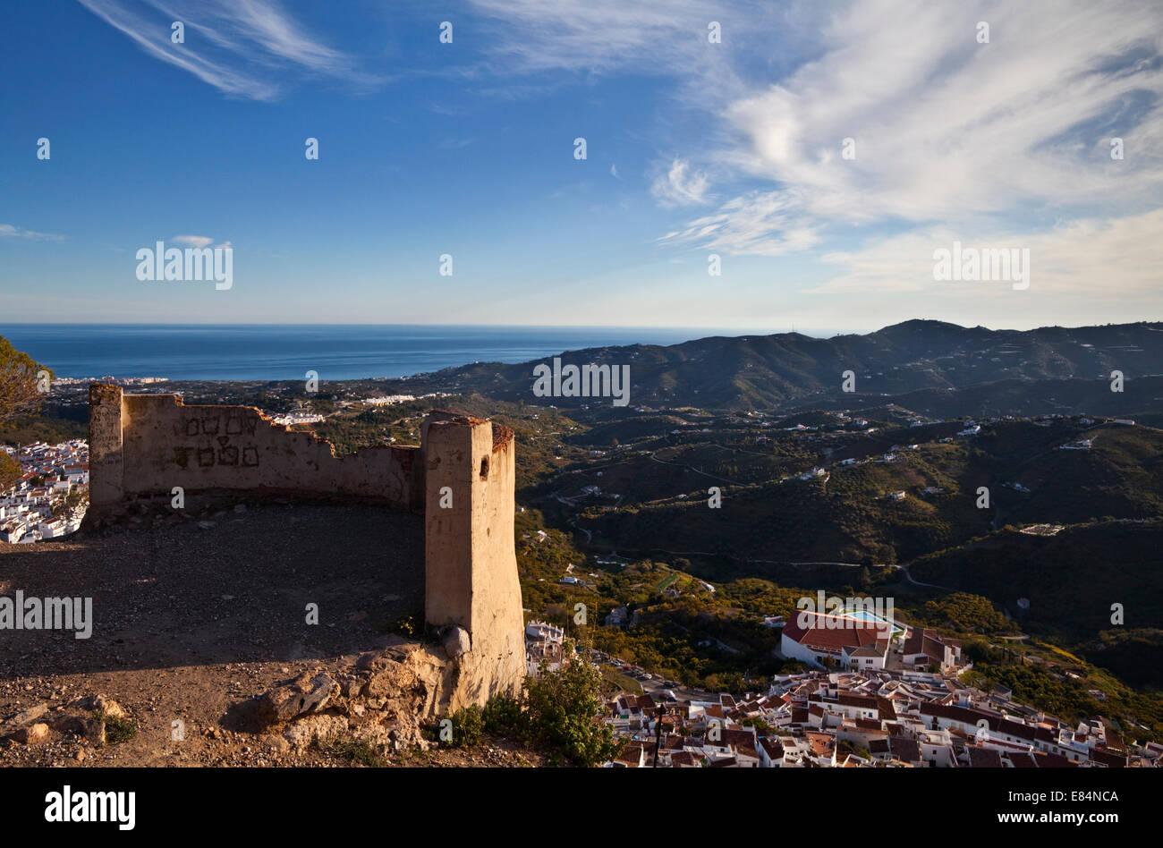 Frigiliana from  El Fuerte de Frigiliana, and distant Nerja, Costa del Sol, Malaga Province, Andalucoa, Spain - Stock Image