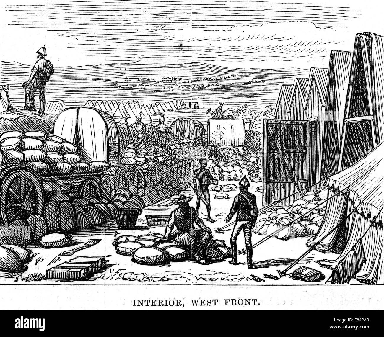 ZULU WAR 1879 Main supply depot for the Number Three Column at Helpmakaar. showing use of mealie bags to strengthen - Stock Image