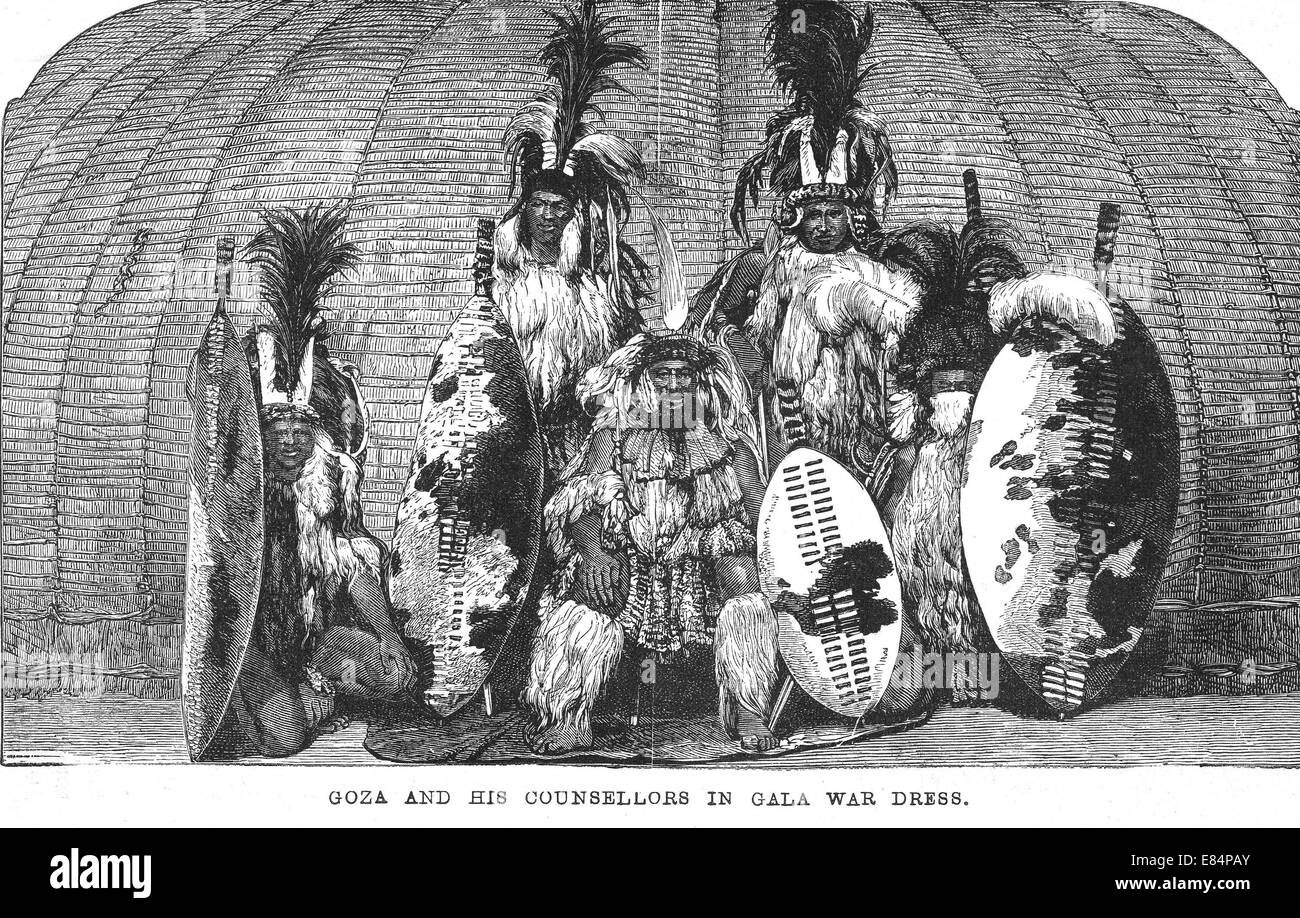 GOZA - Zulu chief with some of his councillors about 1878. Their varied headresses show which regiment they belong - Stock Image