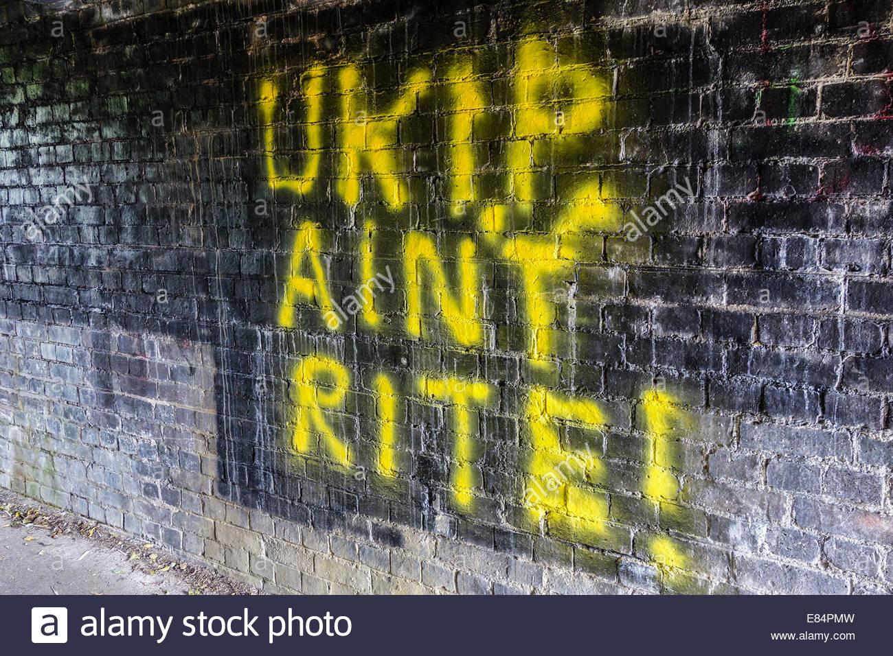 UKIP Ain't Rite (Right) graffiti on a brick wall in Cambridge, England UK - Stock Image