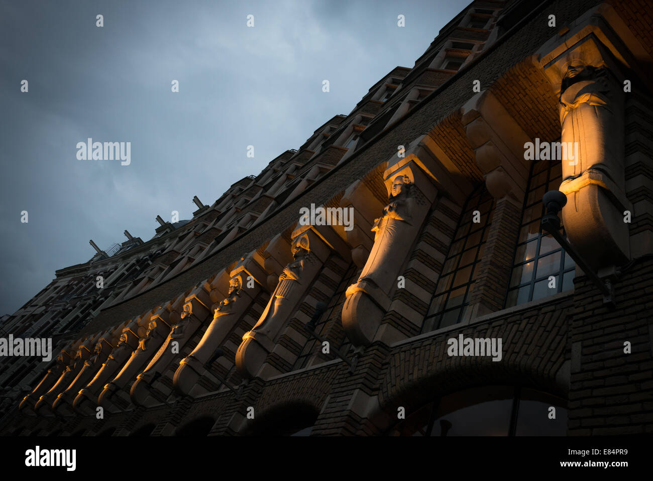 Amsterdam, The Netherlands, illuminated relief figurines in the Hotel American - Stock Image