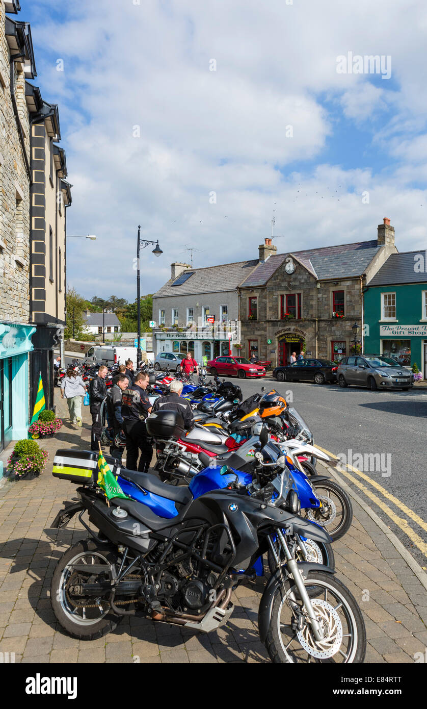 Bikers on a Saturday afternoon in the centre of Ardara, County Donegal, Republic of Ireland - Stock Image