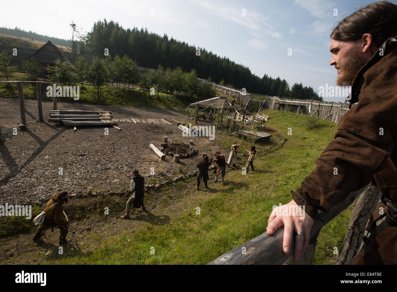 Clanranald Trust, at Duncarron medieval fortified village, in Carron Valley Forest, Scotland Stock Photo