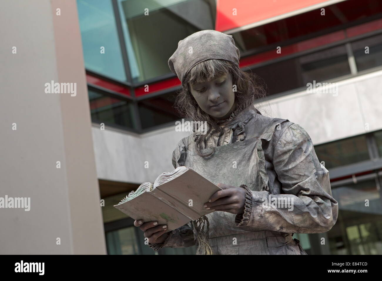 Arnhem, Netherlands - September 28, 2014: Artist imagines laundress during world championships living statues in - Stock Image