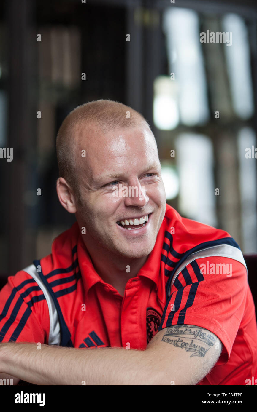 Steven Naismith, footballer for Scotland and Everton FC, at press conference ahead of Scotland football team's - Stock Image