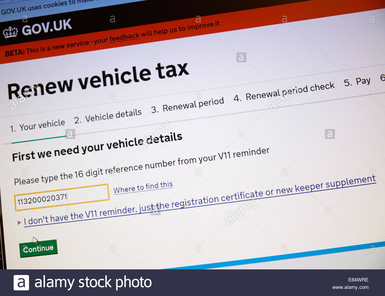 UK, 30 September 2014 DVLA servers overload preventing tax disk renewal on the evening of 30 September. Just before - Stock Image
