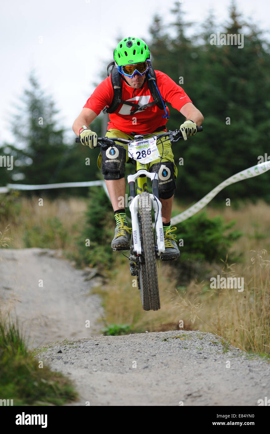 Rider taking part in a Enduro Mtb race - Stock Image