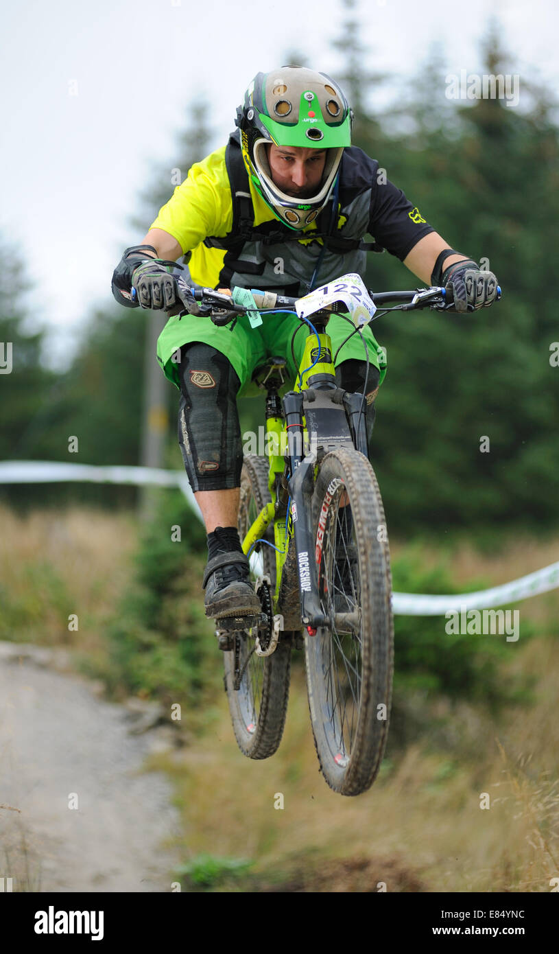 Mountain biker in a Enduro bike event - Stock Image