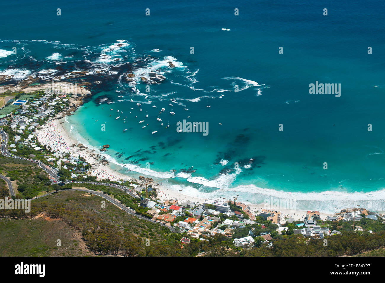 View of the four Clifton beaches on Cape Town's Atlantic coast. - Stock Image