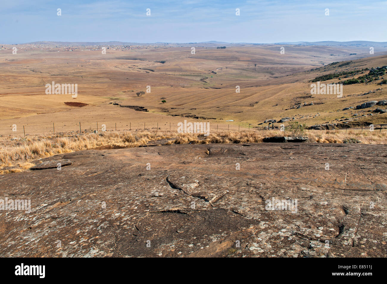 The rock on which Nelson Mandela used to slide and play as a child near his childhood home in the town of Qunu in - Stock Image