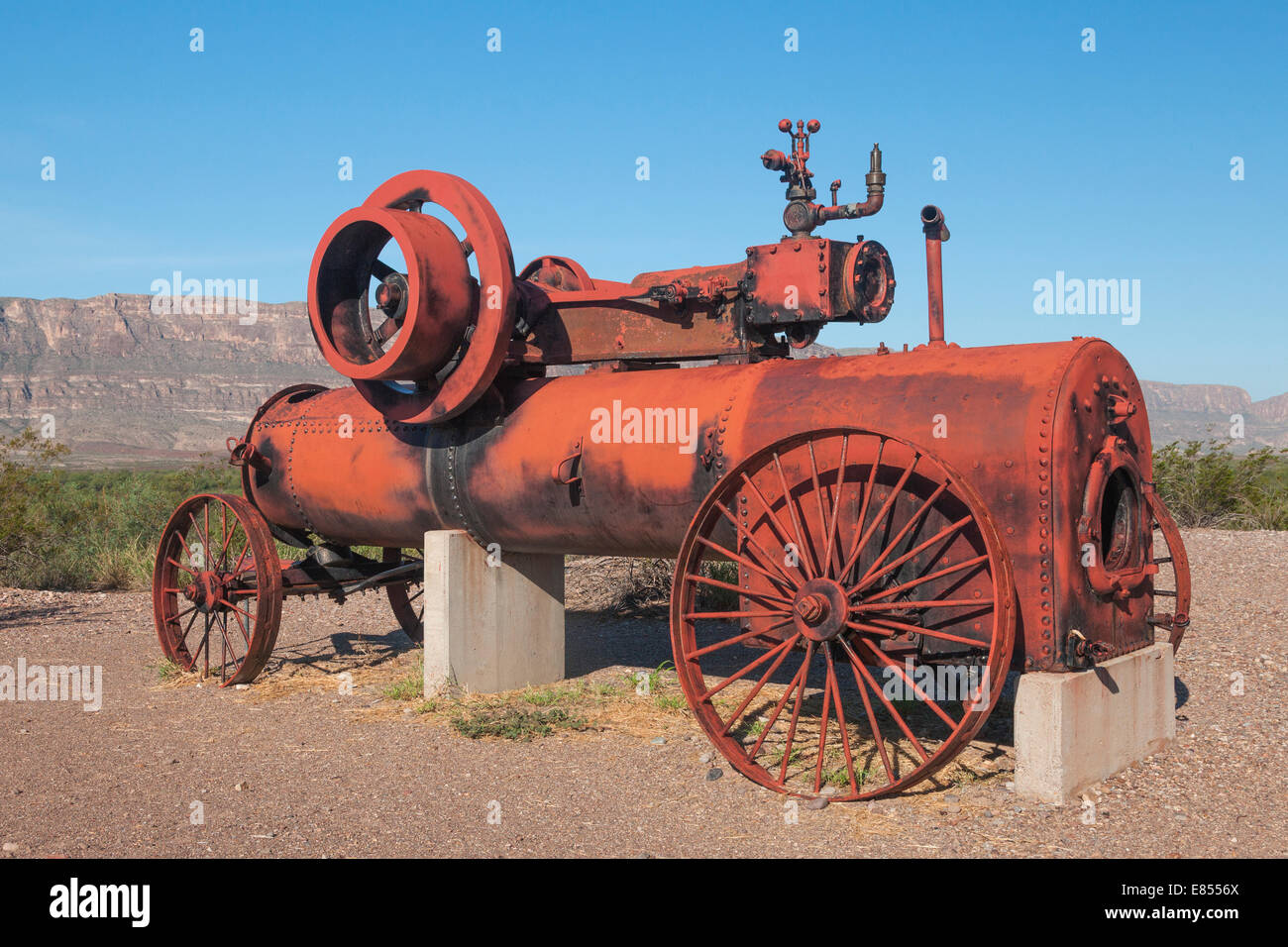 Old Steam Engine once used in cotton farming gin operations at Castolon Historic District in Big Bend National Park. Stock Photo