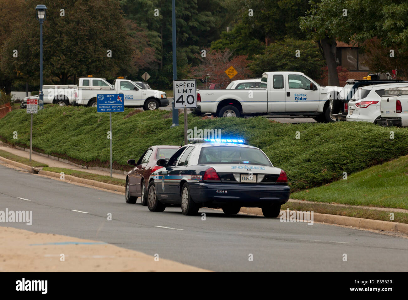 Fairfax County police stop for moving violation - Virginia USA - Stock Image
