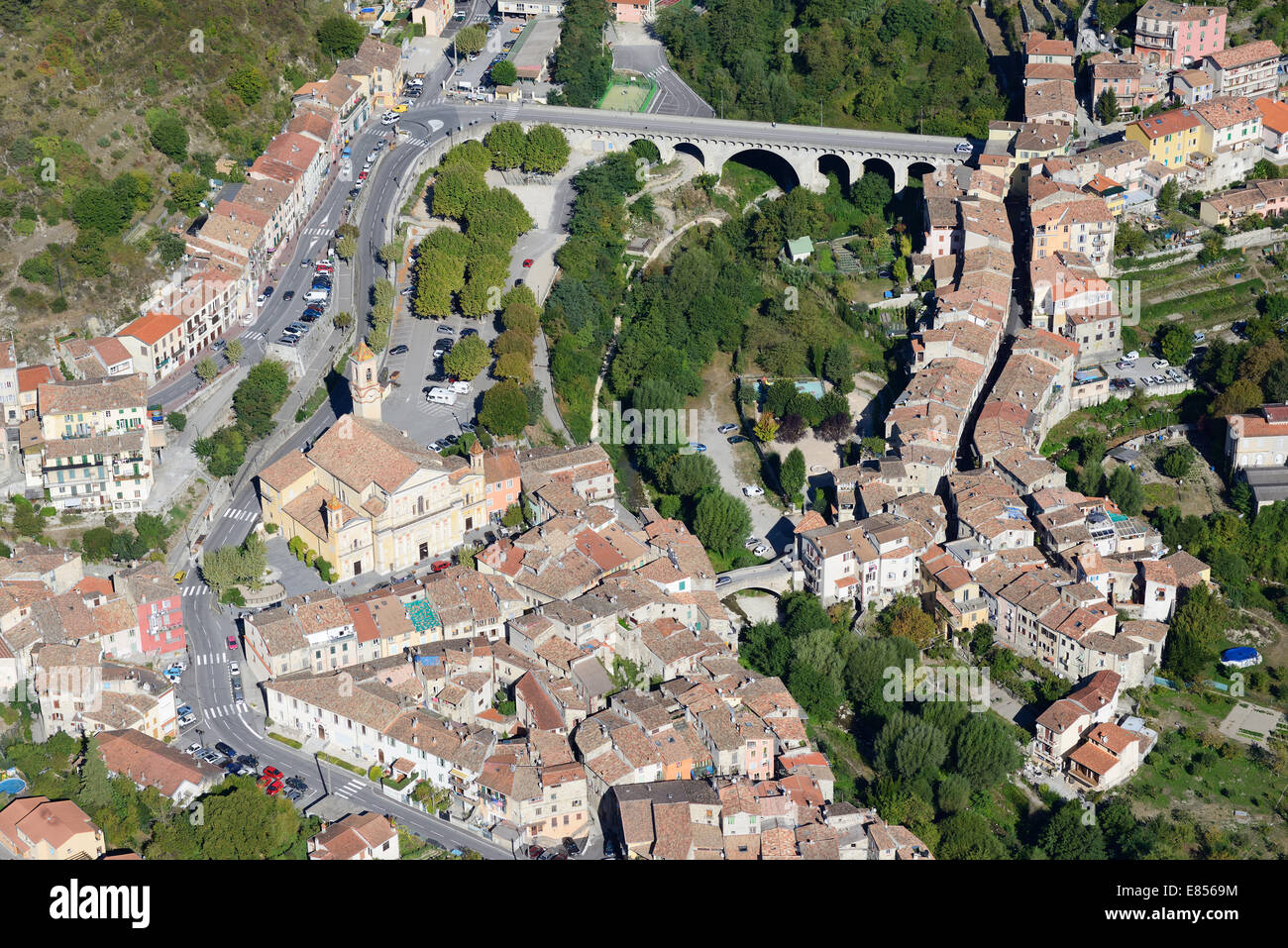 MEDIEVAL VILLAGE OF L'ESCARENE (aerial view). Alpes-Maritime, French Riviera, France. Stock Photo