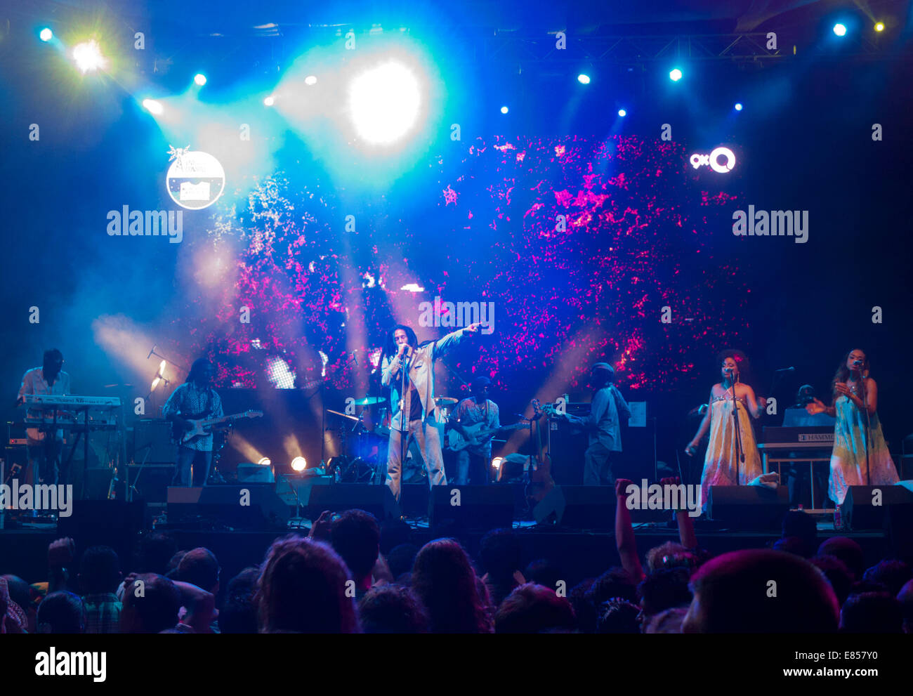 Julian Marley performing at a music festival in Goa India - Stock Image