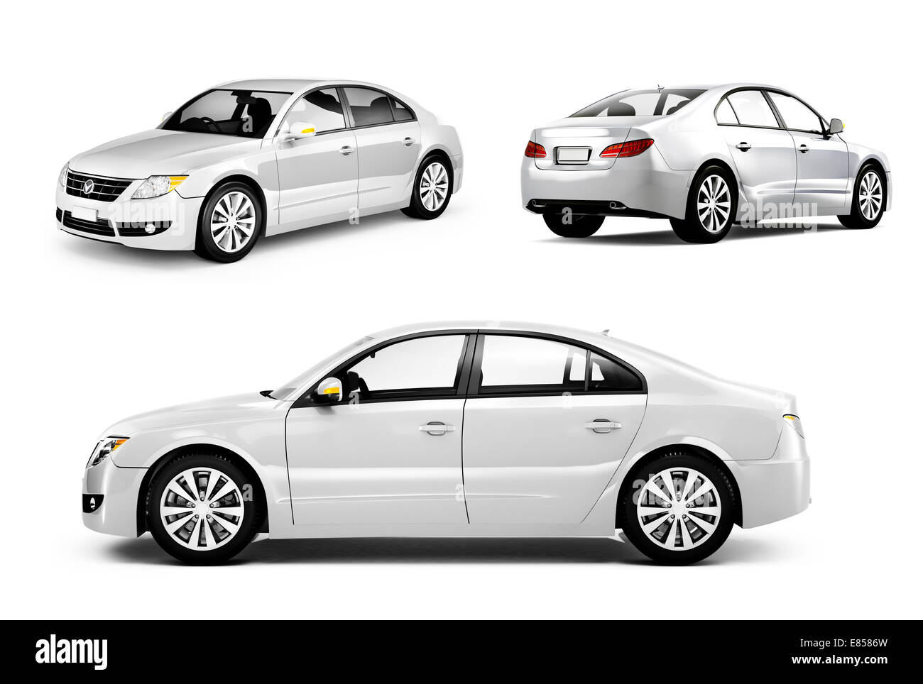 Three Dimensional Image of a White Car - Stock Image