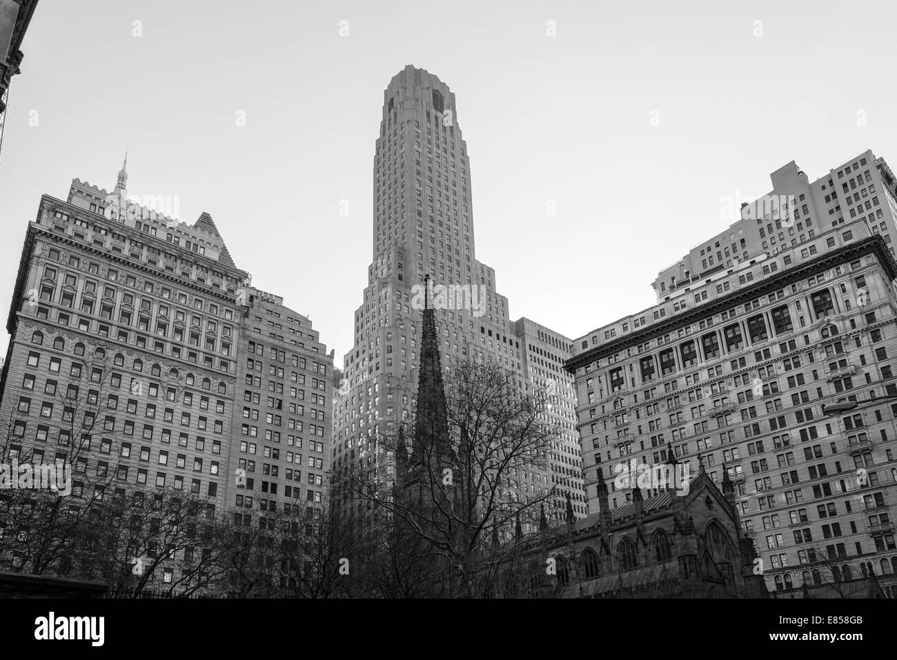 Trinity Church, Manhattan, New York City, New York, USA - Stock Image