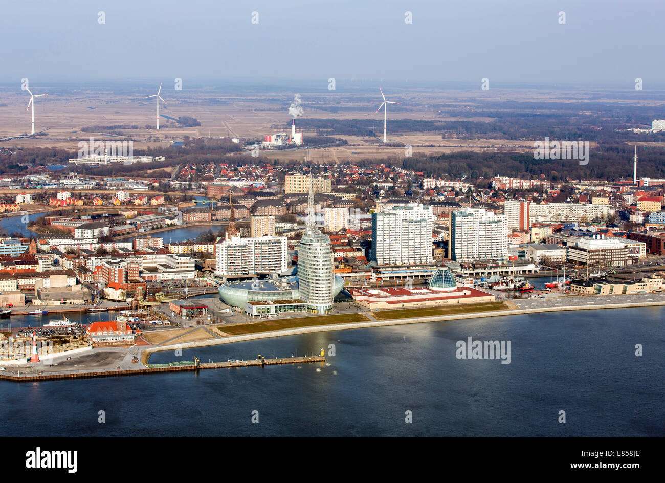 Mediterraneo shopping centre, Atlantic Hotel Sail City, Klimahaus Bremerhaven, Columbus Center, Havenwelten, Weser - Stock Image