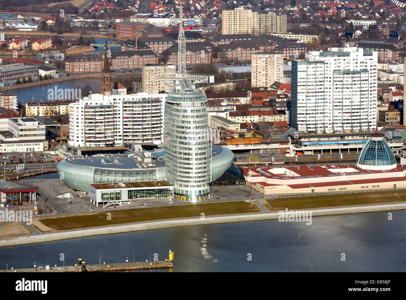 Mediterraneo shopping centre, Atlantic Hotel Sail City, Klimahaus Bremerhaven, Columbus Center, Havenwelten, Weser, - Stock Image
