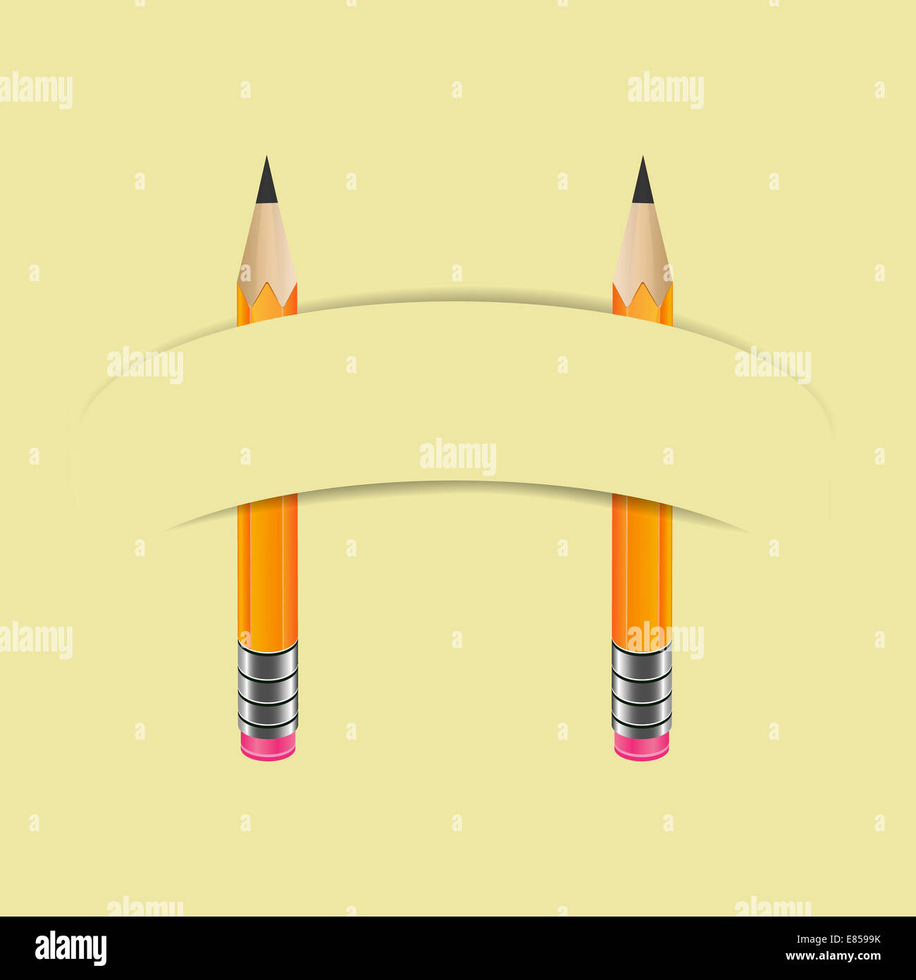 Two graphite pencils and paper banner - Stock Image