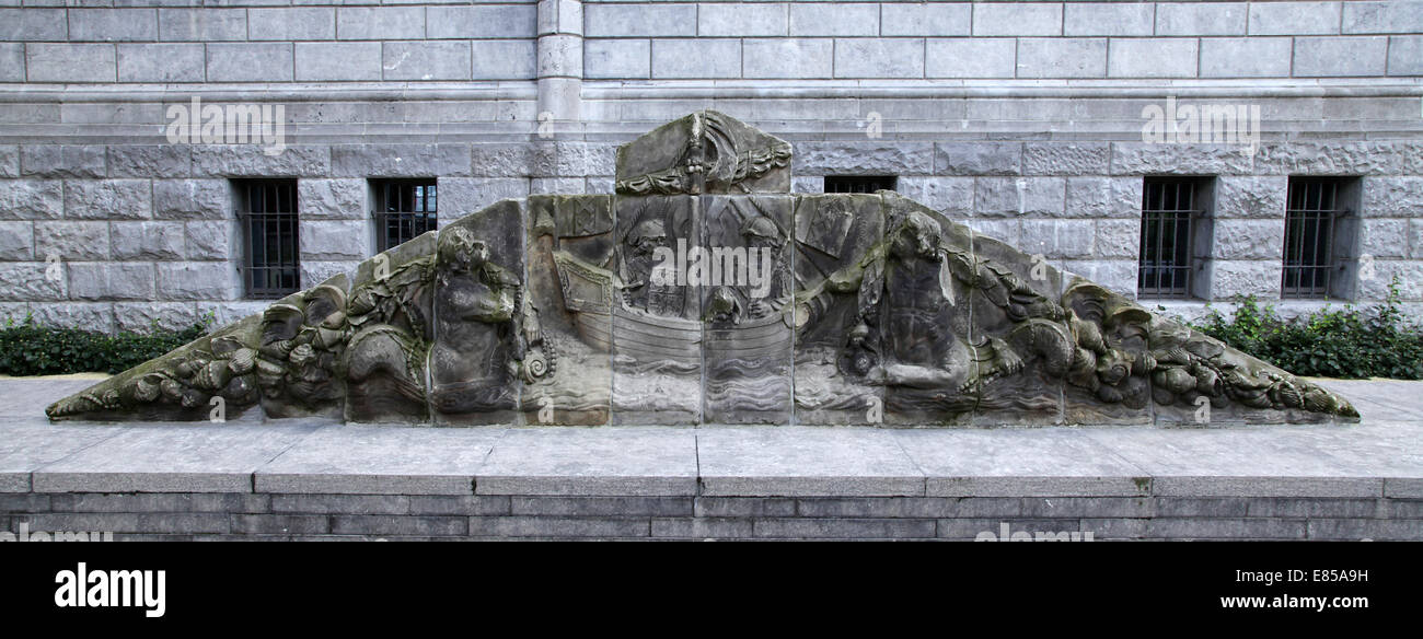 Old Pediment from sandstone.Appeared on a side of an Amsterdam's city gate.Regulierspoort.1654-1655 Stock Photo