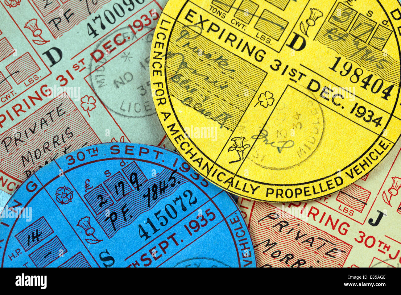 1934 and 1935 car tax discs for a mechanically propelled vehicle - Stock Image