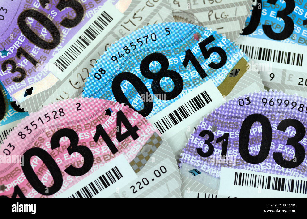 Car tax discs 2014 2015 - Stock Image