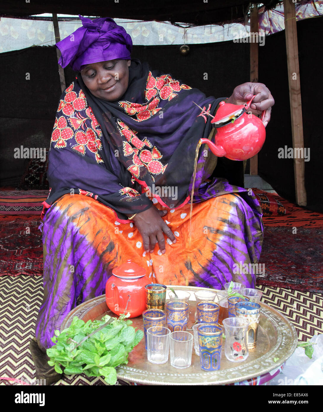 African Nomad from Mauritania  tea ceremony Tea ceremony.Mauritania.Nomad.North Africa - Stock Image