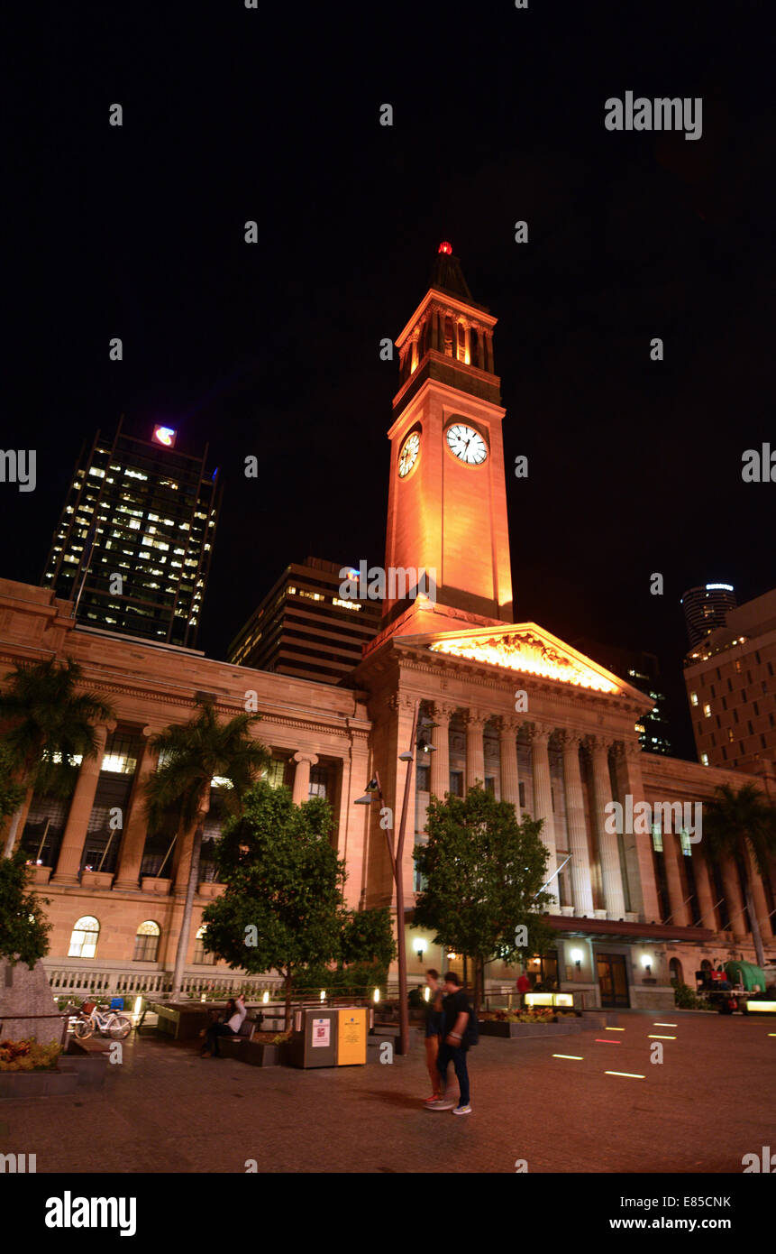 BRISBANE, AUS - SEP 25 2014:Brisbane City Hall at night.The building used for royal receptions, pageants, orchestral Stock Photo