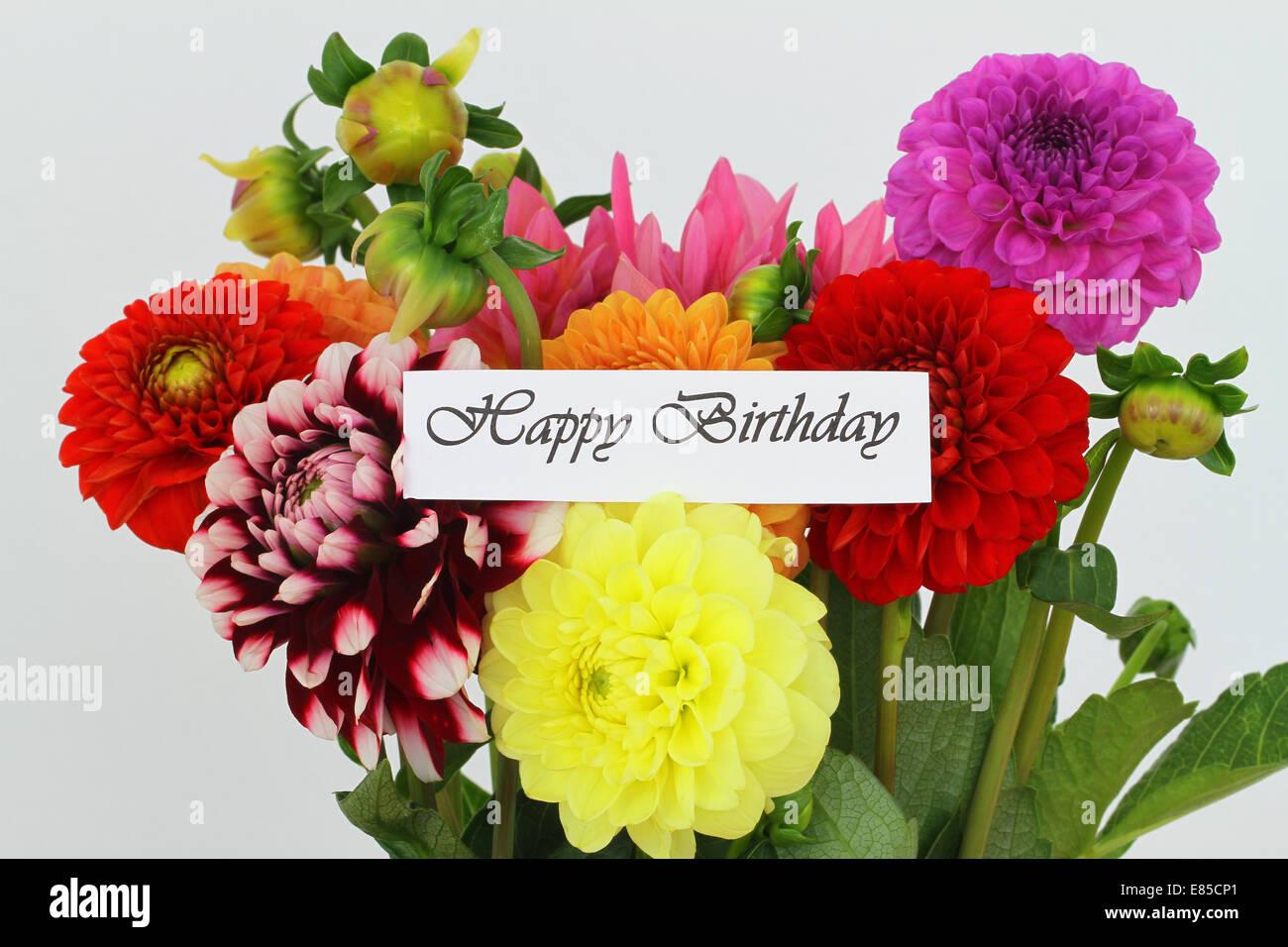 Happy birthday card dahlia flowers stock photos happy birthday happy birthday card with colorful dahlia flowers stock image izmirmasajfo