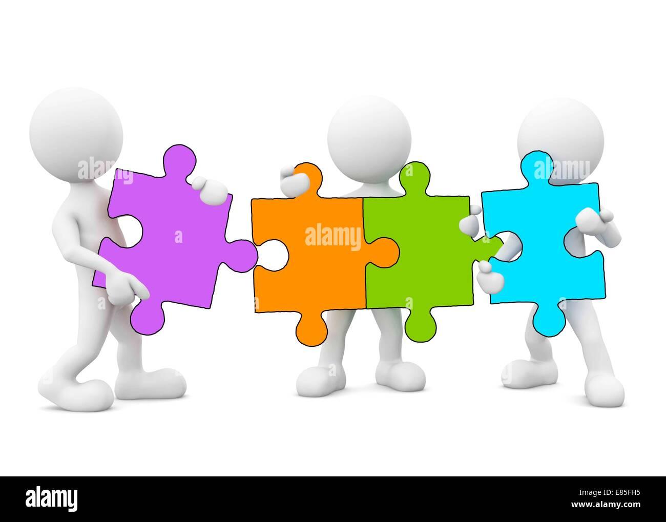 3D Men Holding Jigsaw Puzzle