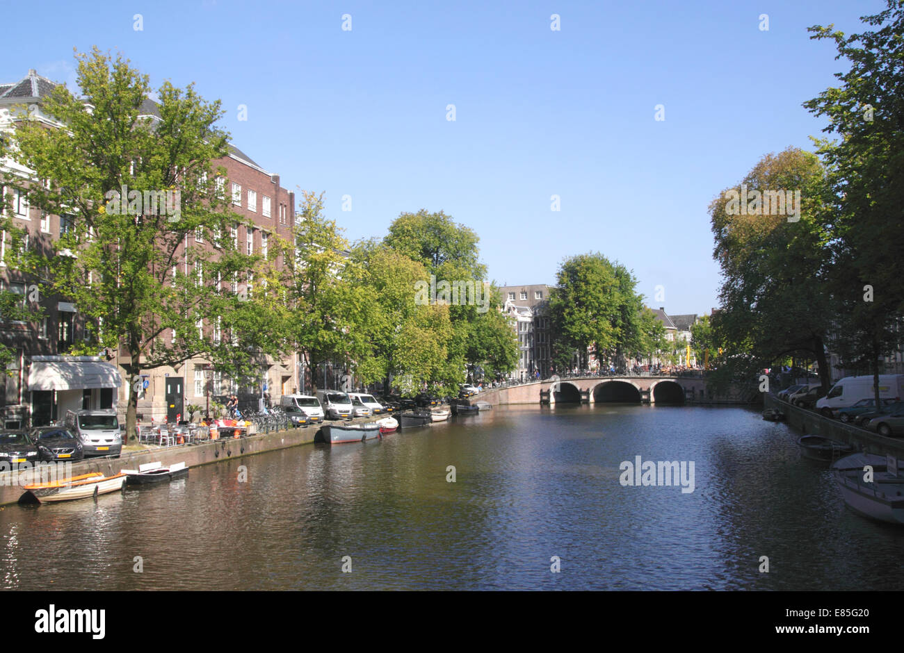 Singel Canal in Western Canal Ring District Amsterdam Holland - Stock Image