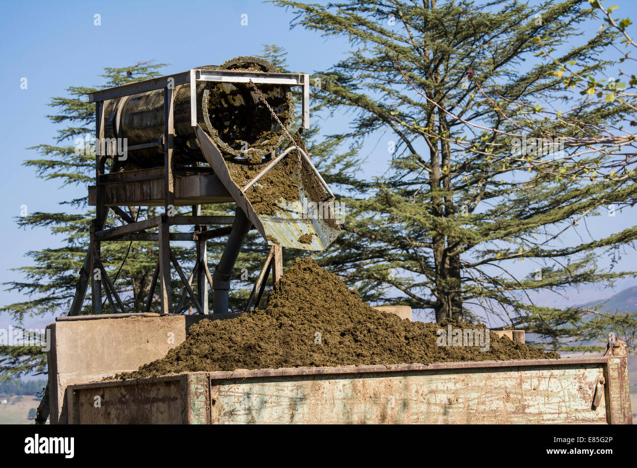 Sludge separator on a dairy farm - Stock Image
