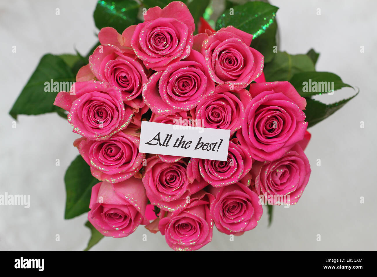 All The Best Card With Pink Roses Bouquet Stock Photo 73881772 Alamy