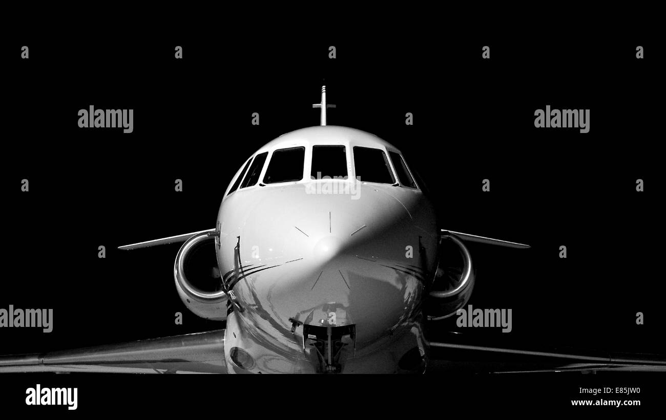 Private jet on runway - Stock Image