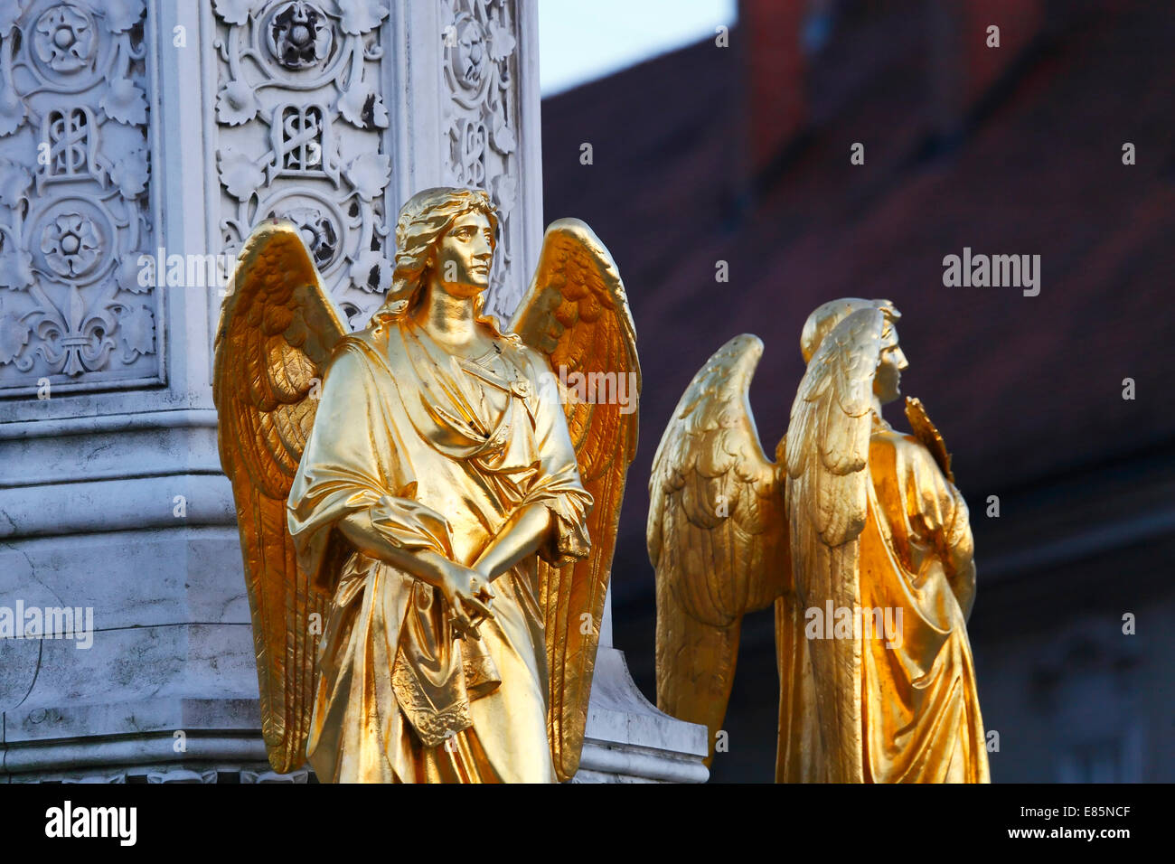 Zagreb sculpture of golden angels in front of cathedral - Stock Image