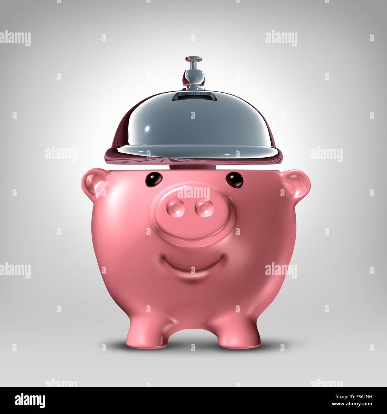 Banking service concept as a front view piggy bank shaped as a hospitality servicing bell as a symbol for good banking - Stock Image
