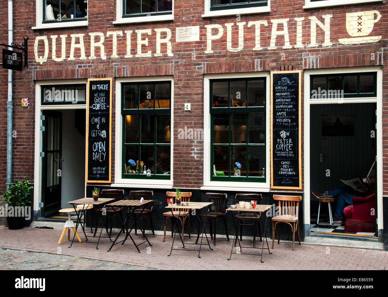 Quartier Putain café in the red light district, Amsterdam, the Netherlands - Stock Image