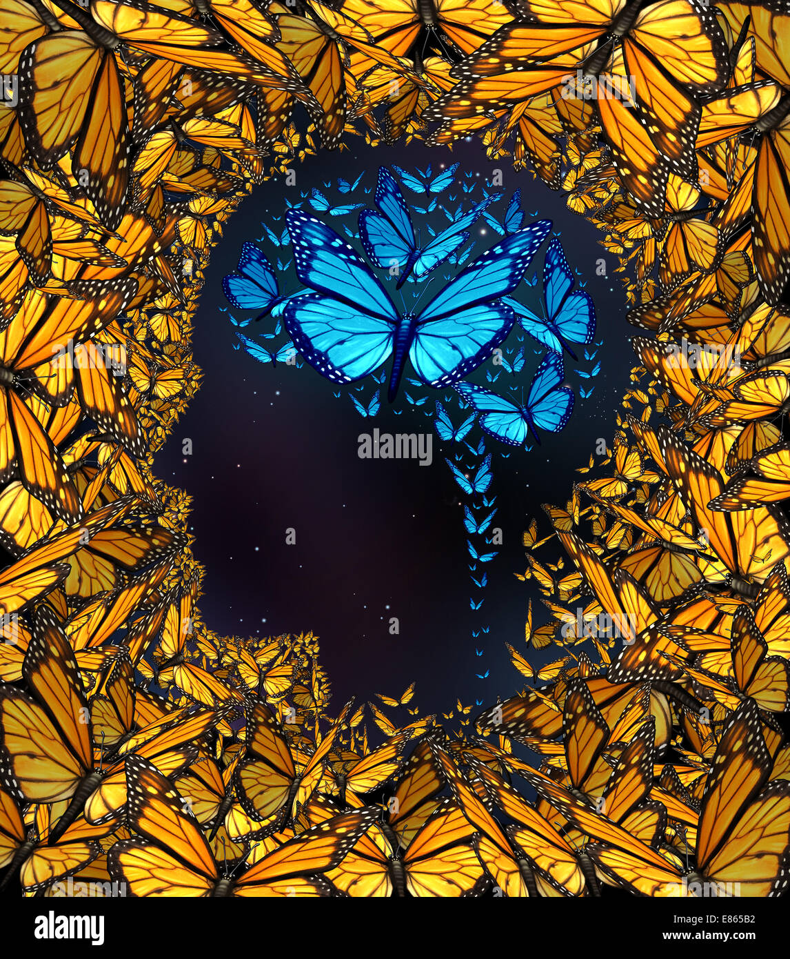 Inspiration concept and thinking potential metaphor as a group of butterflies in the shape of a human face and brain - Stock Image
