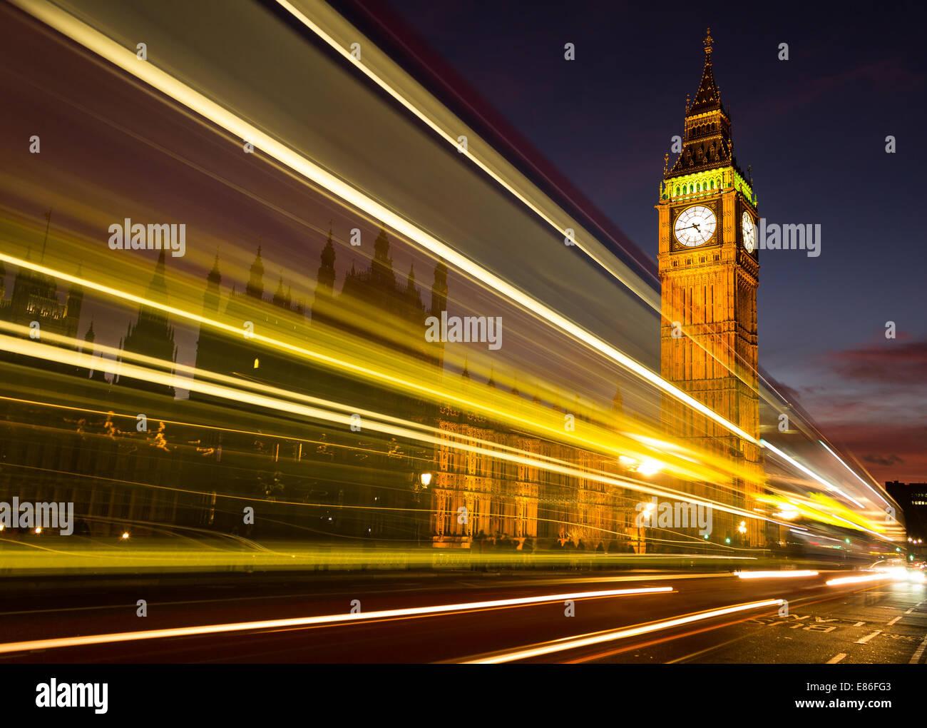 Big Ben Light Trail - Stock Image