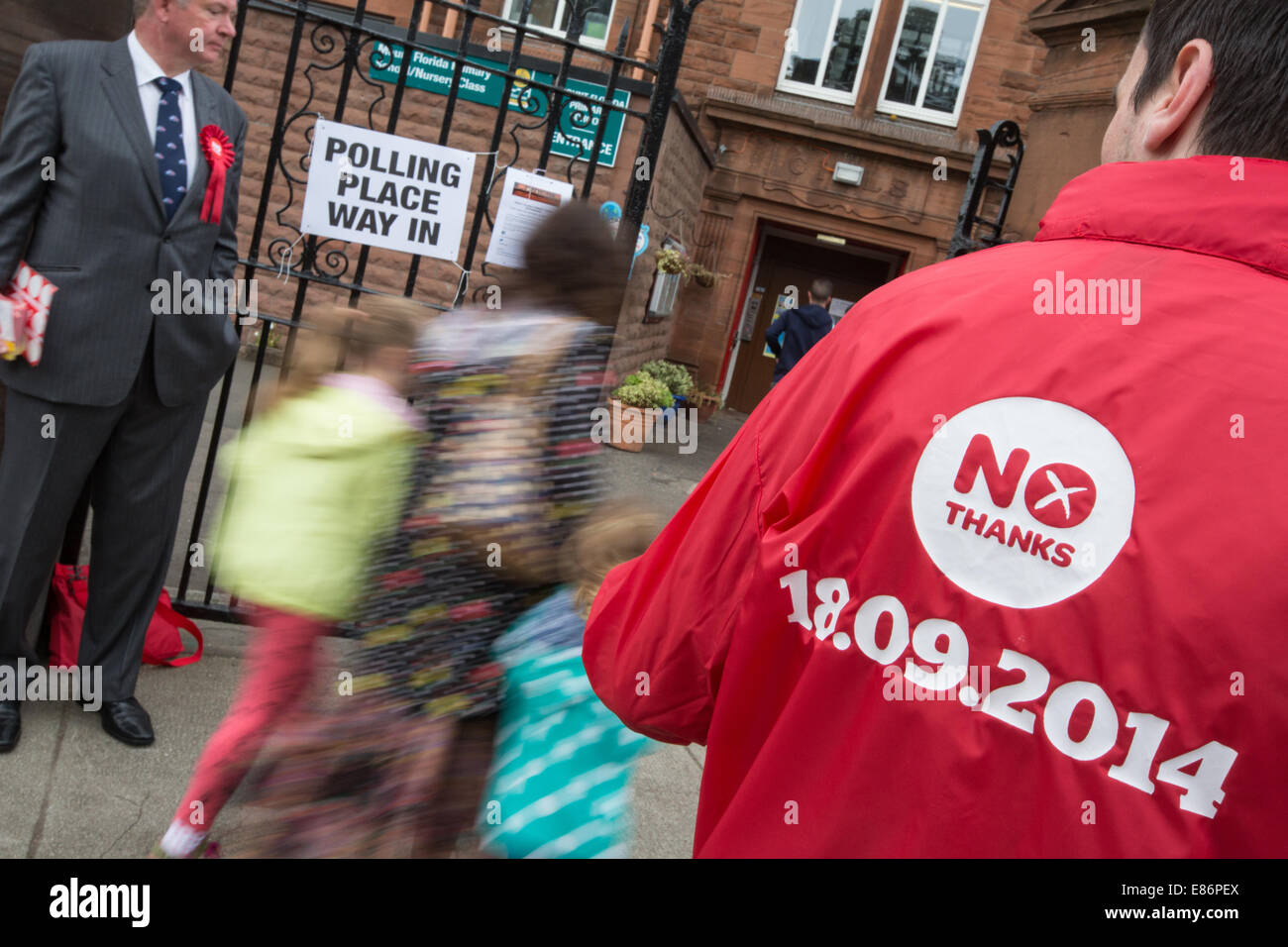 Scenes outside the polling stations on the day of the Scottish independence referendum, Glasgow, Scotland, 18th - Stock Image