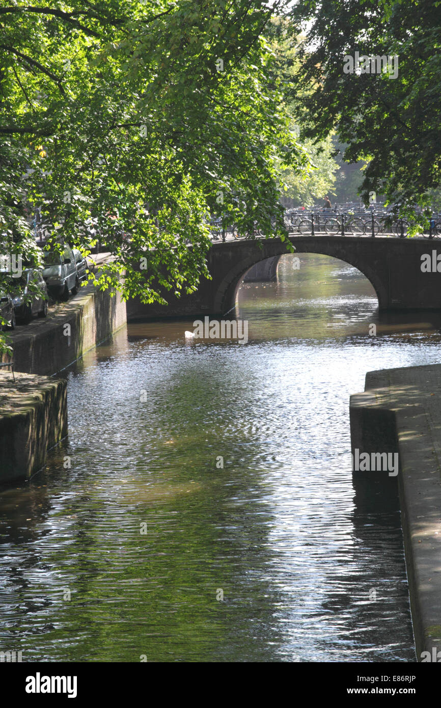 Leliegracht Canal in Western Canal Ring District Amsterdam - Stock Image