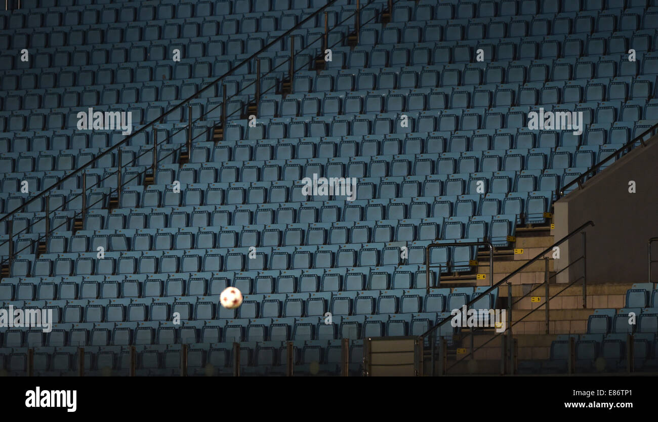 Moscow, Russia. 30th Sep, 2014. The empty stands at the Khimki Arena during the UEFA Champions League group E soccer Stock Photo
