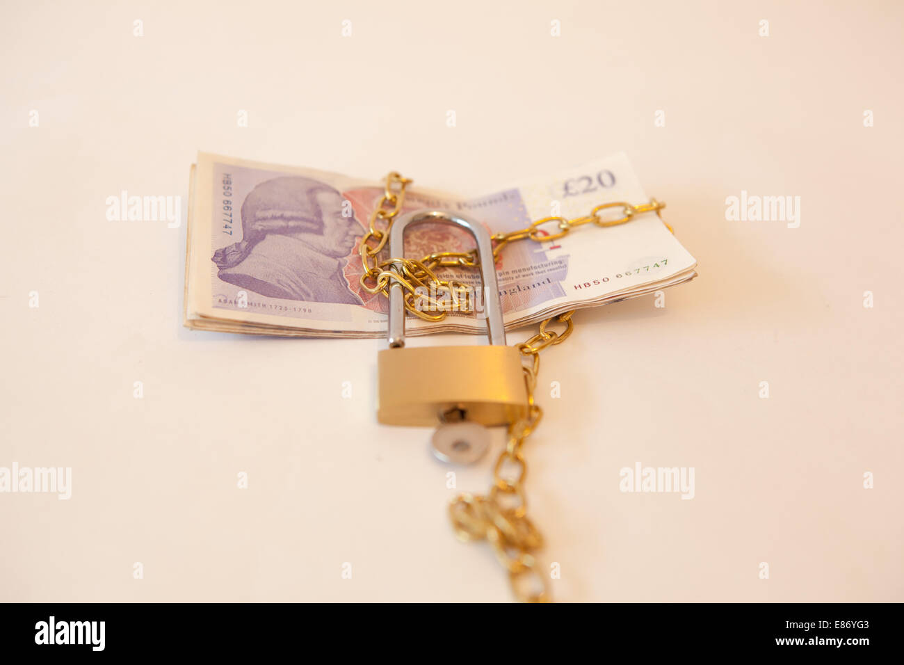 multiple 20 notes tied up - Stock Image