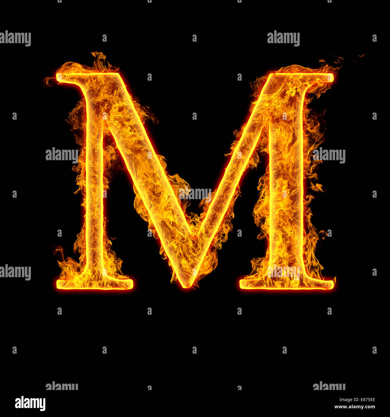 Fire Alphabet Letter M Isolated On Black Background Stock